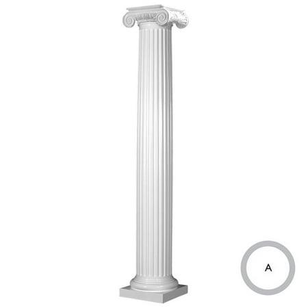 Endura Stone Round Fluted Tapered Column FRP Smooth Paint Grade Roman