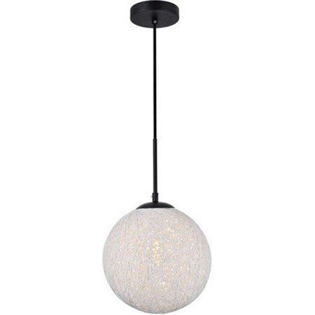 Living District LD2233BK Malibu 1 Light Pendant Ceiling Light with Frosted White Glass, Black - image 1 of 1