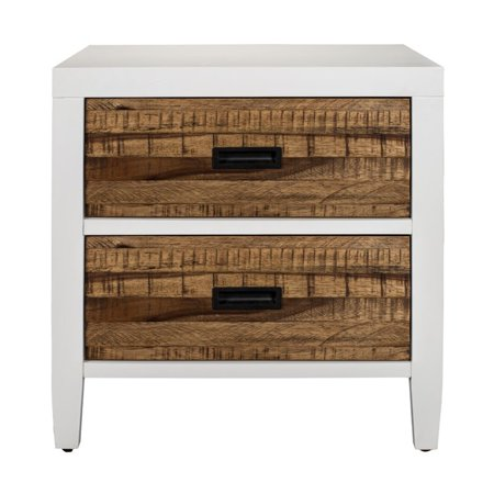 Modus Montana 2 Drawer Nightstand in White Lacquer and Natural Sengon - image 2 of 5