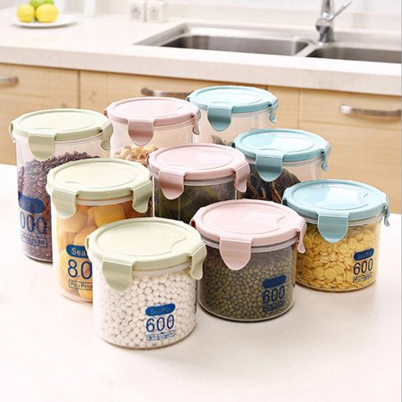 Tea Coffee Canisters (ZeAofa Clear Plastic Canister Snack Tea Coffee Kitchen Storage Jar Bottle with Clip)