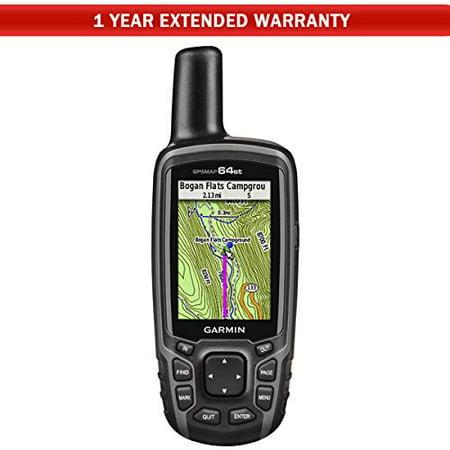Garmin GPSMAP 64st Worldwide Handheld GPS with 1 Yr. Birdseye Subscription and Preloaded TOPO U.S. 100K Maps + 1-Year Extended Warranty - Digital Topo Maps