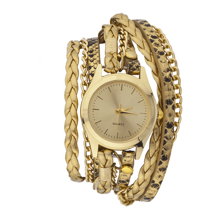 Metallic Leather Ankle Wrap - Lux Accessories GoldTone Metallic Bronze Braided Cheetah Leather Wrap Watch