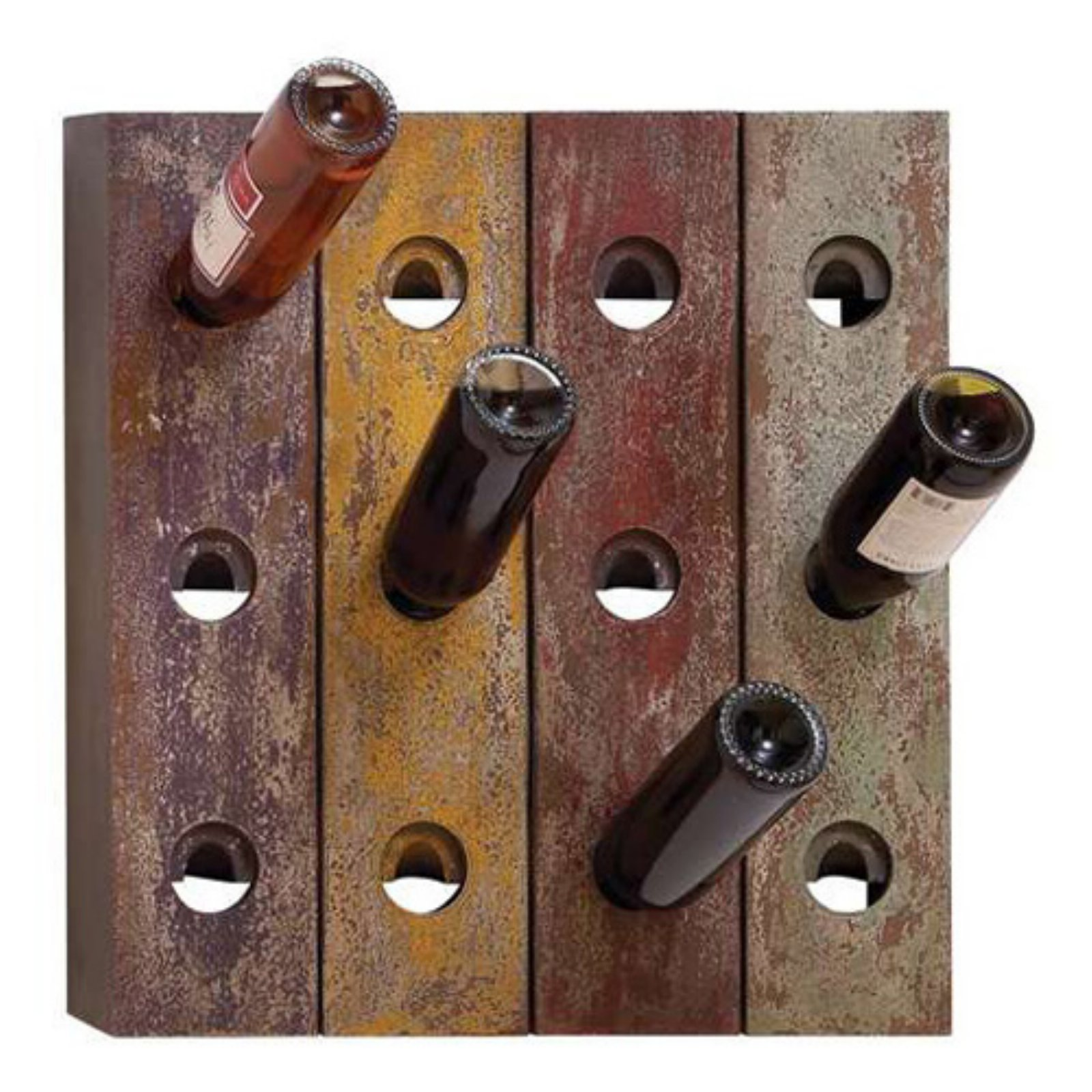 Woodland Imports Rustic Old Holes 12 Bottle Wine Rack