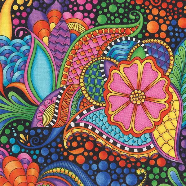Quilting Treasures Carnivale  Floral Geometric Black Multi