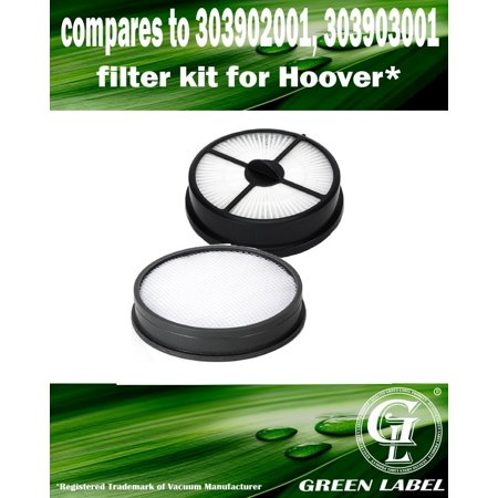 For Hoover WindTunnel Air Bagless Upright HEPA Exhaust Filter and Primary Washable Vacuum Filter Kit (compares to 303903001, 303902001). Genuine Green Label Product