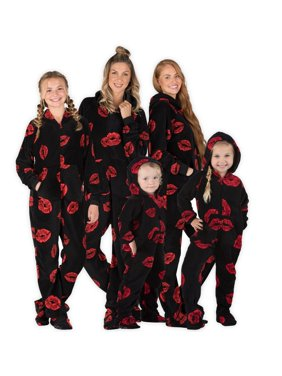 Footed Pajamas - Family Matching Kisses Hoodie Onesies for Boys, Girls, Men, Women and Pets