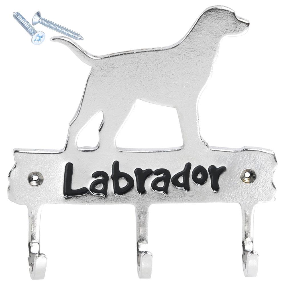 Labrador Leash Key Hook Household Hanger Pet  Wall Rack Holder Home Bathroom Kitchen Barn Decor (Silver)