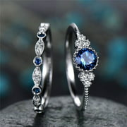 2pcs Sparkling 925 Solid Sterling Silver Natural Gemstone Ring Set