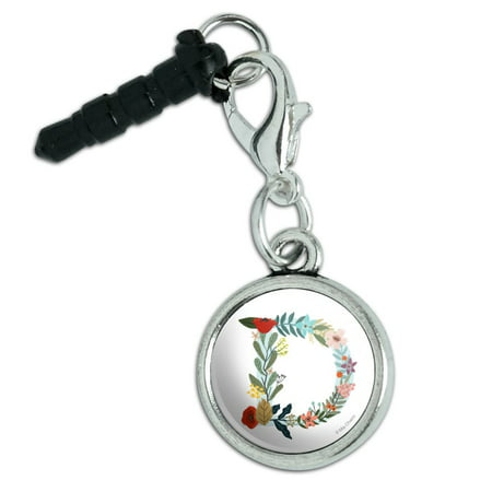 Letter D Floral Monogram Initial Mobile Cell Phone Headphone Jack Anti-Dust Charm fits iPhone iPod