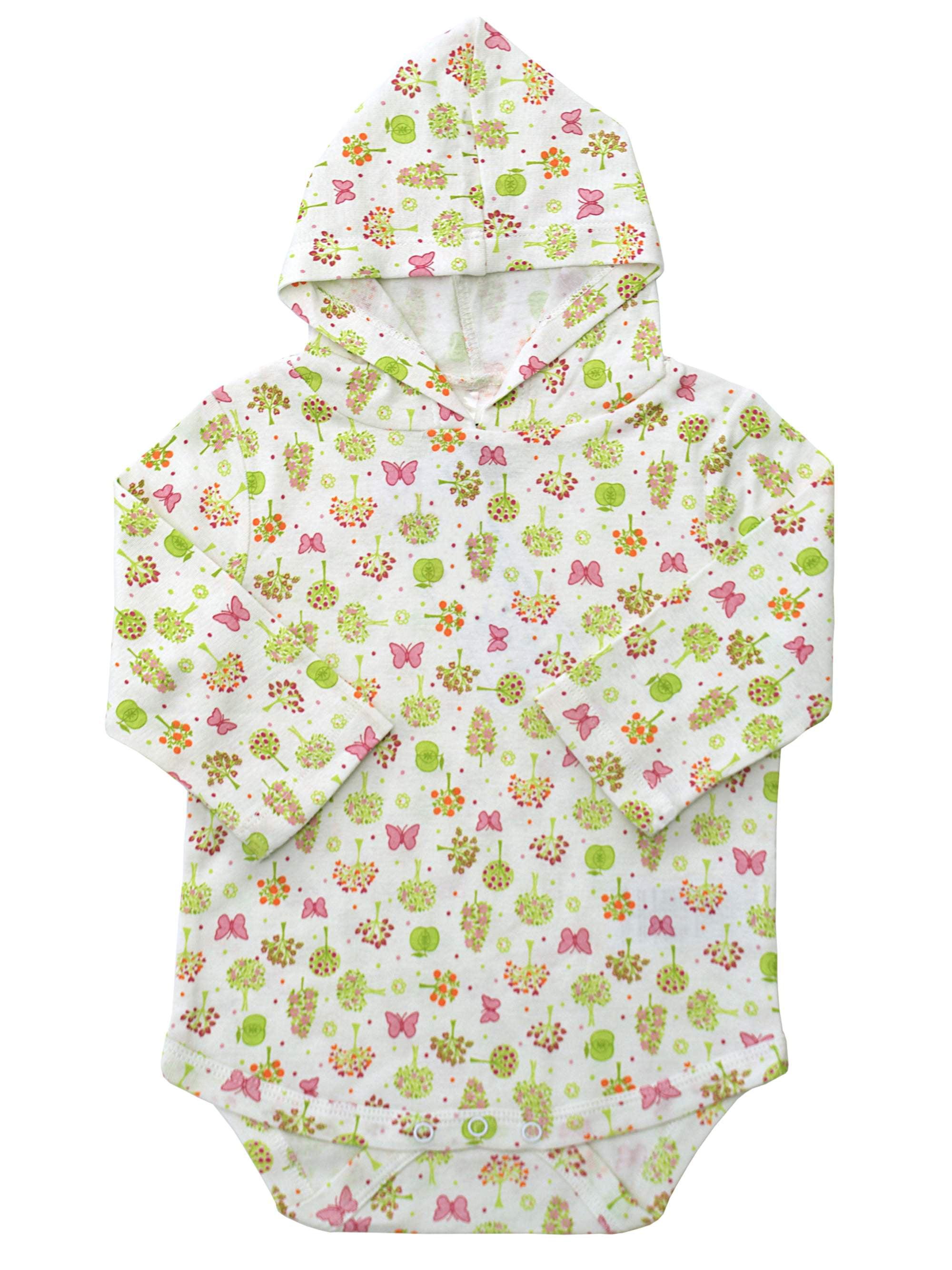 KidzStuff Long Sleeve Sun Protection Baby Bodysuit w/ Hood (Baby Girls)