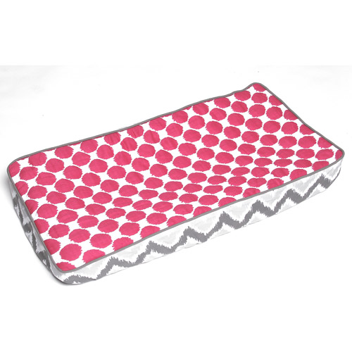 Bacati - Ikat 100% Cotton Muslin Fabric Quilted Top Changing Pad Cover, Zigzag Pink Dots