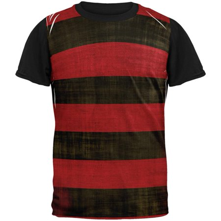 Halloween Striped and Bloody Nightmare Sweater All Over Mens Black Back T - Nightmare Halloween Forest Lake