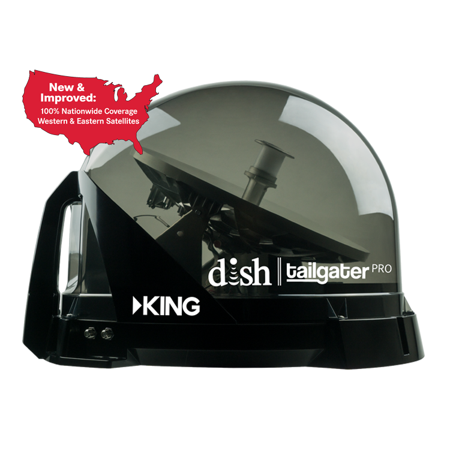 King Dome Satellite Antennas - KING VQ4900 DISH Tailgater PRO Fully Automatic Premium Portable Satellite TV Antenna for RVs, Trucks, Tailgating, Camping and Outdoor