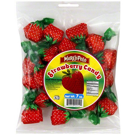 Marco Polo Strawberry Fruit Filled Candy  7 Oz  Pack Of 24