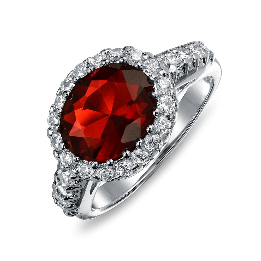 Bling Jewelry Crown Simulated Ruby CZ Engagement Ring Rhodium Plated Brass