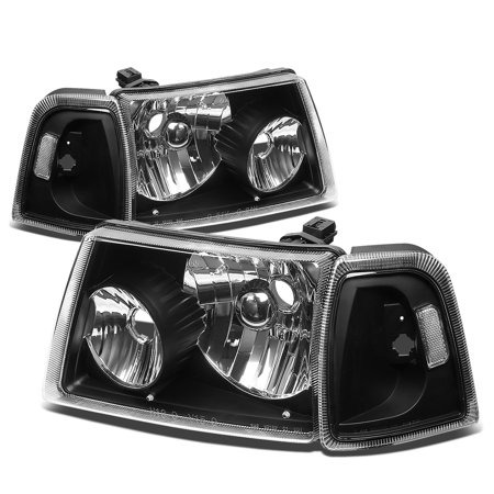 for 01-11 ford ranger 4pcs replacement headlight+corner lights kit (black housing) 02 03 04 05 06 07 08 09 10