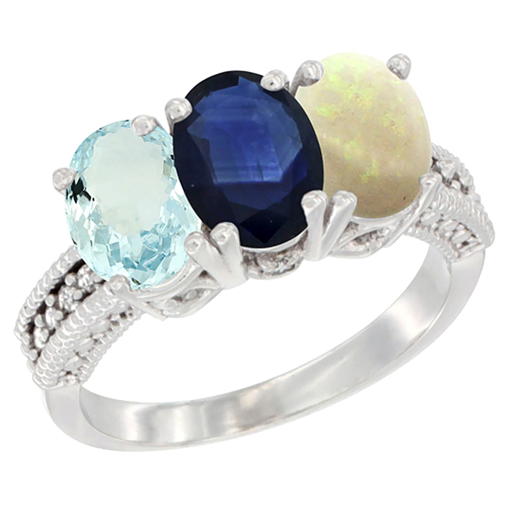 14K White Gold Natural Aquamarine, Blue Sapphire & Opal Ring 3-Stone Oval 7x5 mm Diamond Accent, sizes 5 10 by WorldJewels