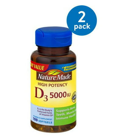 (2 Pack) Nature Made D3 5000 IU High Potency Softgels Everyday Value, 100 (Natures Bounty D3 5000 Iu 400 Softgels)