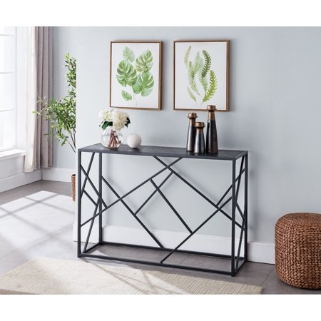 - Thurl Modern Occasional Entryway Console Sofa Display Table (Black Metal Frame & Gray Wood Top)