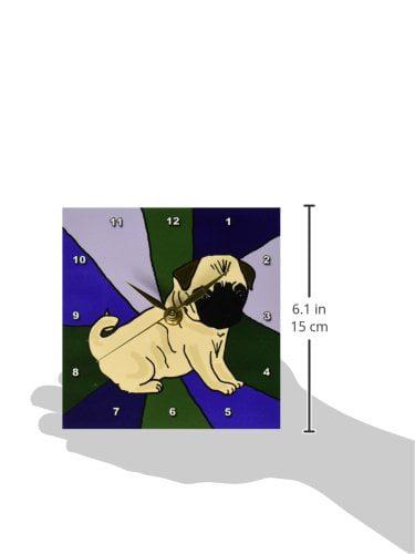 3dRose Funny Pug Puppy Dog Art, Desk Clock, 6 by 6-inch by 3dRose