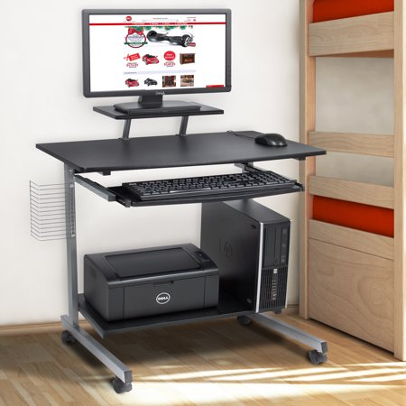 Jupiter Computer Cart - Best Choice Products Portable Computer Desk Cart PC Laptop Table Study Workstation w/ Built-In Caster Wheels, CD/DVD Rack for Student, Dorm, Home Office - Black