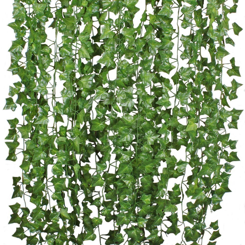 Coolmade 84ft 12 Strands Artificial Flowers Silk Fake Ivy Leaves