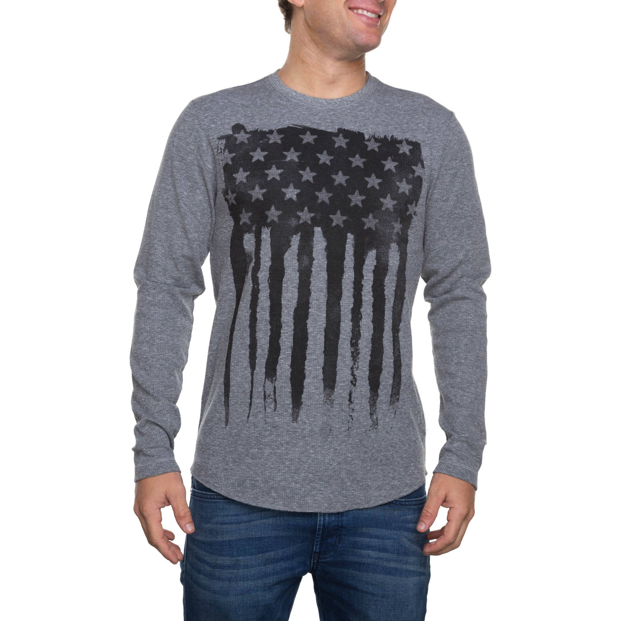 Faded Glory Men's Long Sleeve Dripping Flag Graphic Thermal