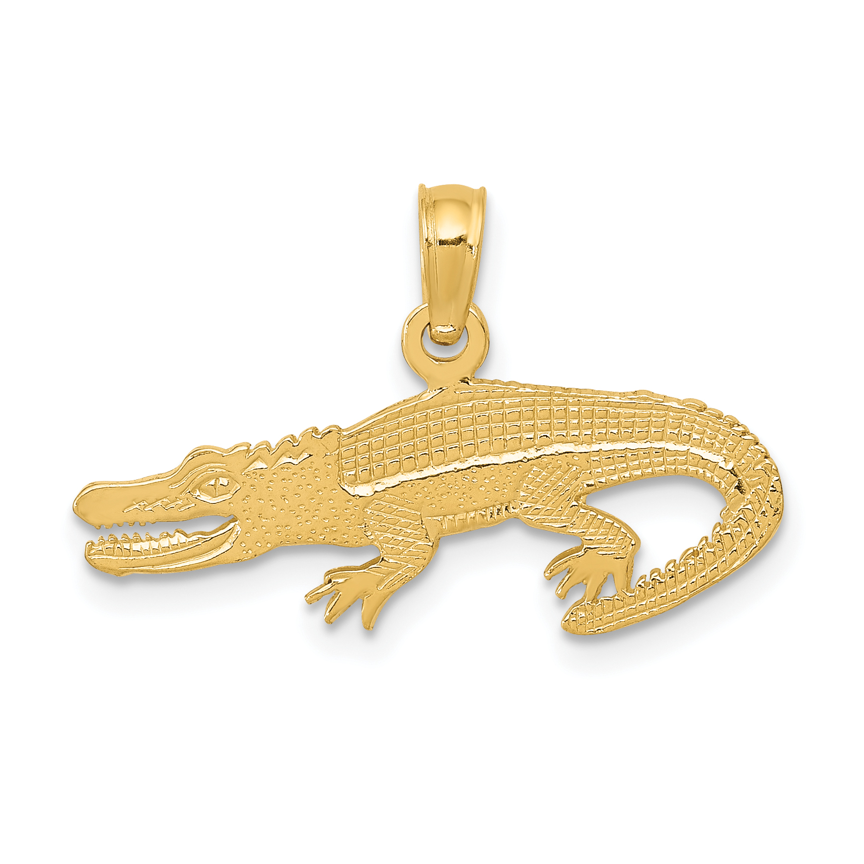 14k Yellow Gold Textured Alligator Pendant Charm Necklace Animal Crocodile Man Fine Jewelry Gift For Dad Mens For Him - image 2 of 2