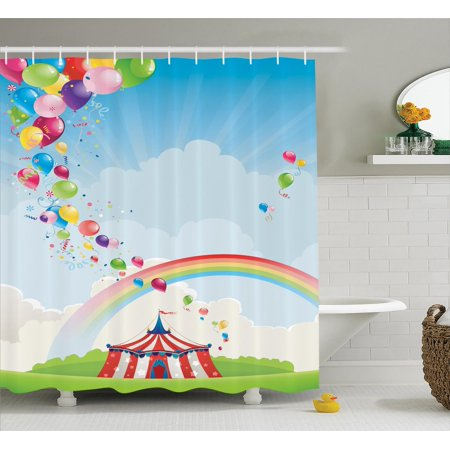 Circus Decor Shower Curtain Set Rainbow And Balloons Freedom Traveling Cloudscape Festival