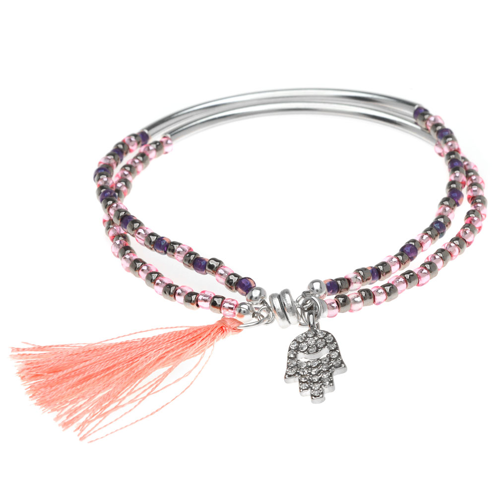 Crystal Charm Bracelet with Tassel-Slv/Pink - Exclusive Beadaholique Jewelry Kit