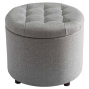 SJ Collection Round Tufted Ottoman with Storage, 5-in-1 Chest Seating Foot Rest Stool Chair with Tray, Gray