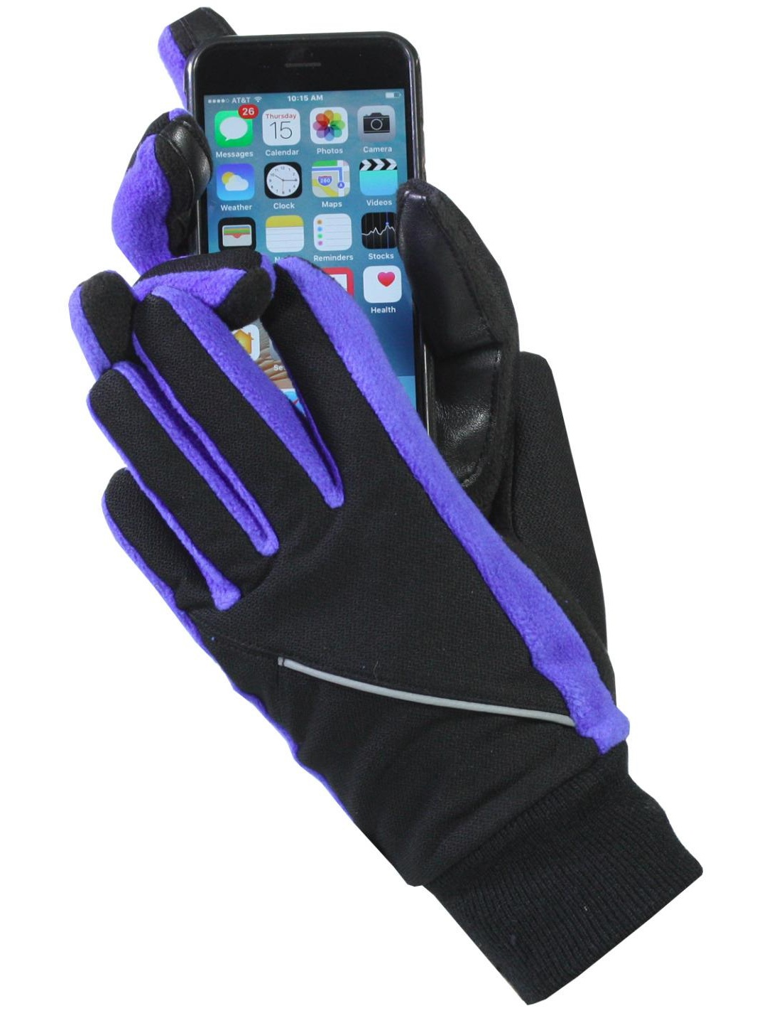 Isotoner Women's Touch Screen Thermaflex Gloves Black & Blue Large / X-Large