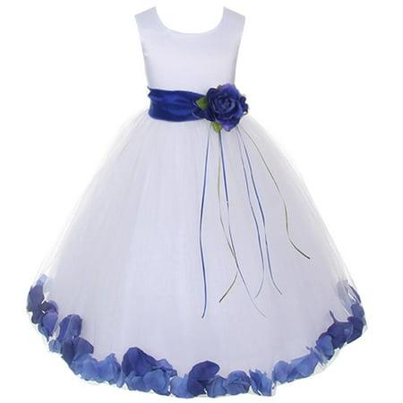 Baby Girls White Satin Blue Petal Flower Girl Dress 18M
