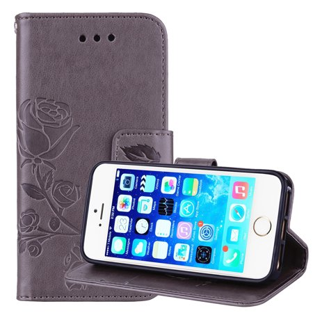 online retailer b939d ec6cd iPhone 5/ iPhone 5S/ iPhone SE Phone Case, Allytech [Embossed Rose Series]  Folding Folio Flip Case with Kickstand Card Holders Magnetic Closure Full  ...