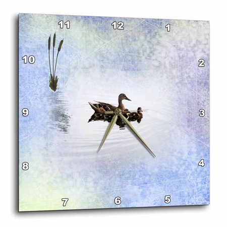 3dRose Mother Mallard Duck with Baby Ducks on Pastels with Cattails, Wall Clock, 10 by 10-inch