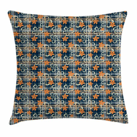 Geometric Throw Pillow Cushion Cover, Grunge Tartan Textured Scottish Vivid Flower Petals Shabby Chic Motif, Decorative Square Accent Pillow Case, 16 X 16 Inches, Dark Blue Orange Ivory, by Ambesonne ()