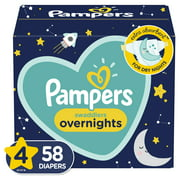 Pampers Swaddlers Overnights Diapers, Size 4, 58 Ct