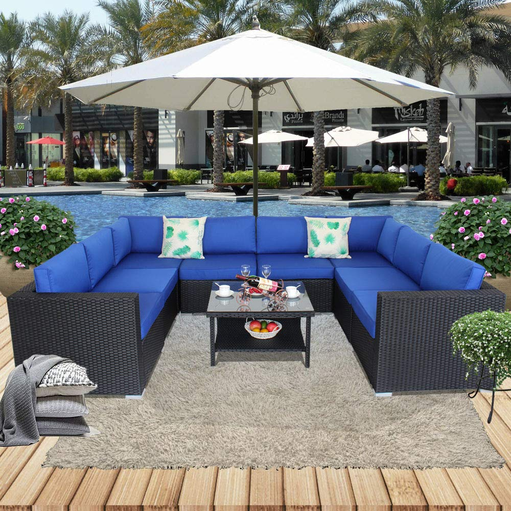 Patio Sofa 9-PIECE Outdoor Rattan Couch Black Wicker Royal Blue Cushion Deck Porch Conversation Seating