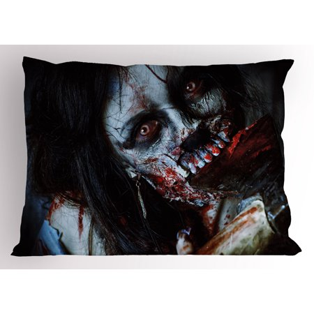 Halloween Bloody Axe (Zombie Pillow Sham Scary Dead Woman with a Bloody Axe Evil Fantasy Gothic Mystery Halloween Picture, Decorative Standard King Size Printed Pillowcase, 36 X 20 Inches, Multicolor, by)