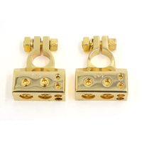 Unique Bargains 2 pcs Positive Negative Battery Terminals Connectors Gold Tone for Auto Car