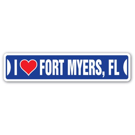 I LOVE FORT MYERS, FLORIDA Street Sign fl city state us wall road décor (The Hut Fort Myers Fl)