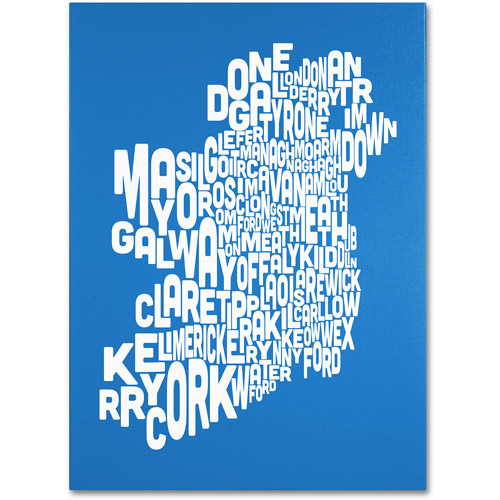 Trademark Art 'SUMMER-Ireland Text Map' Canvas Art by Michael Tompsett