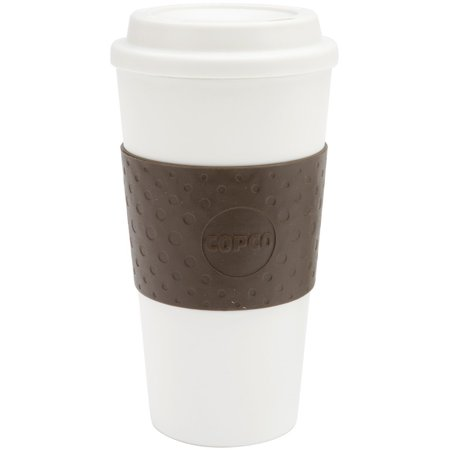 Copco Acadia Travel coffee Mug, Plastic Reusable 16 Oz - Brown / White