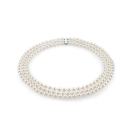 14K Gold Japanese Akoya White Cultured Pearl Triple Strand Necklace - AAA Quality, 16-17-18