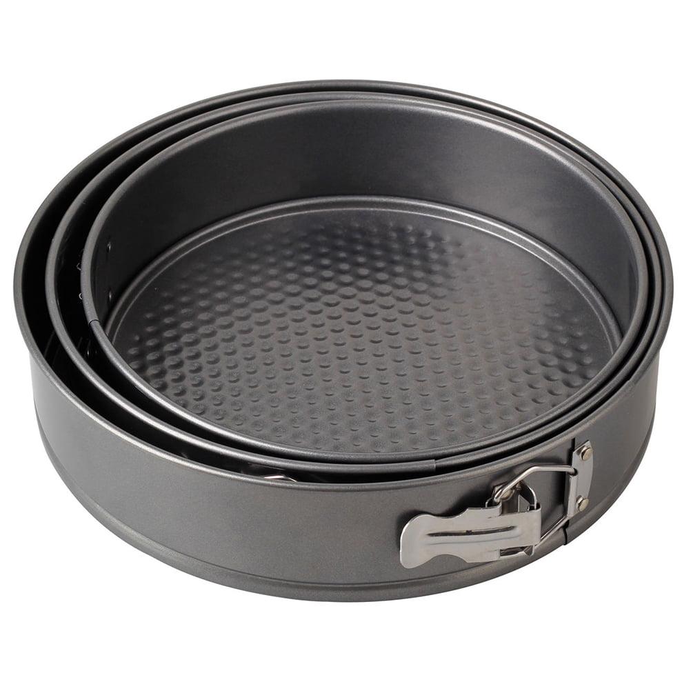 3pcs Nonstick Iron Cake Pan Baking Tray Springform Pan (Grey) by