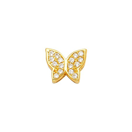 Butterfly Charm CZ Solid 14k Yellow Gold Pendant Fashion Pave Set Stylish Polished Fancy Small