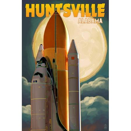 Huntsville, Alabama - Space Shuttle and Full Moon Print Wall Art By Lantern Press Alabama Art Glass