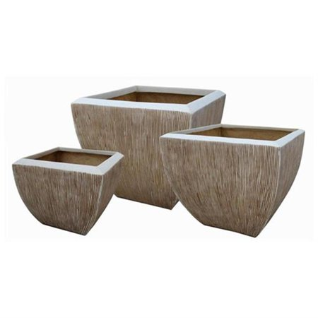 Screen Gems SGS-2002 Square Flower Pot, Ribbed Finish, Set of 3