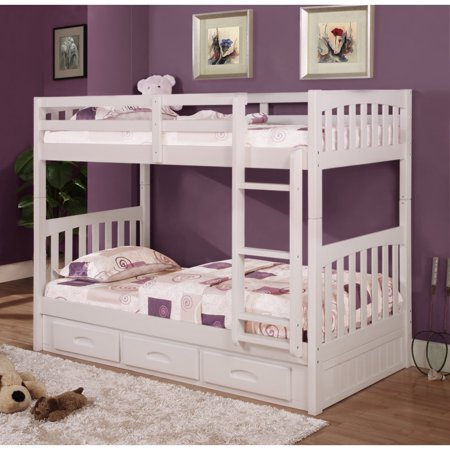 Twin Over Twin Mission Bunk Bed in White