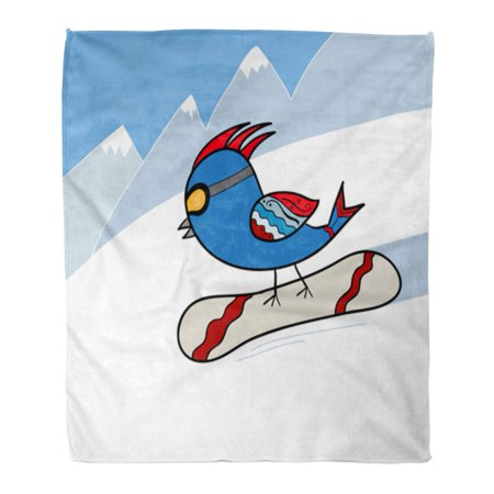 JSDART Throw Blanket 58x80 Inches Blue Active Bird on Snowboard Red Bangs Warm Flannel Soft Blanket for Couch Sofa Bed - image 1 of 1